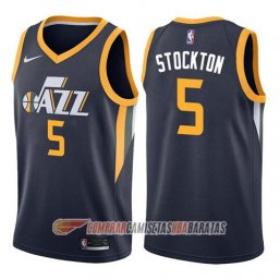 Camiseta de la David Stockton #5 Utah Jazz Icon 2017-18 Azul